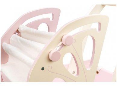 """Medinis lėlių vežimėlis """"Rožinis sapnas"""" 5"""