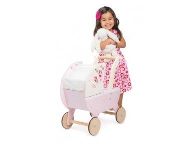 """Medinis lėlių vežimėlis """"Rožinis sapnas"""" 2"""