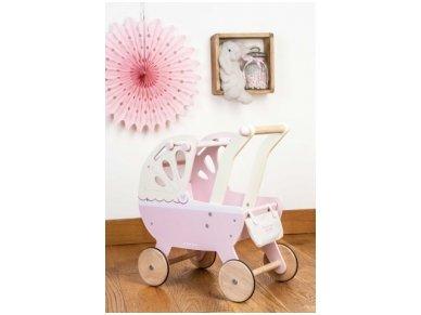 """Medinis lėlių vežimėlis """"Rožinis sapnas"""" 4"""