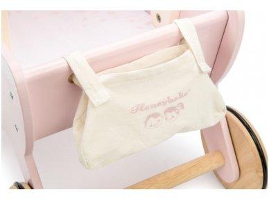 """Medinis lėlių vežimėlis """"Rožinis sapnas"""" 6"""
