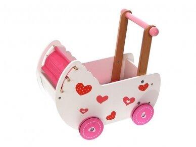 "Medinis vežimėlis lėlėms ""Širdelė"""