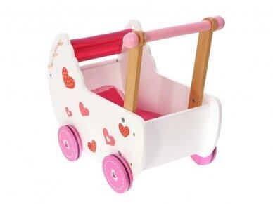 "Medinis vežimėlis lėlėms ""Širdelė"" 3"