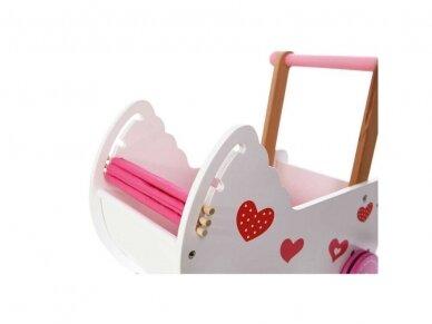 "Medinis vežimėlis lėlėms ""Širdelė"" 6"