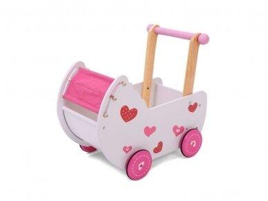 "Medinis vežimėlis lėlėms ""Širdelė"" 2"