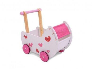 "Medinis vežimėlis lėlėms ""Širdelė"" 4"