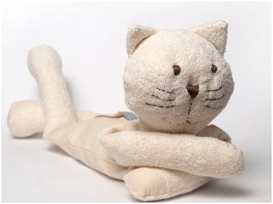 Šildantis žaislas baltasis katinas Čiobrelis