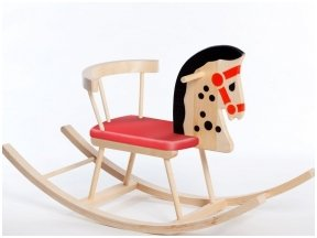 Tradicinis supamas arkliukas su raudona sėdyne