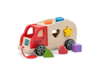 Traukiamas sunkvežimis su geometrinėmis figūromis