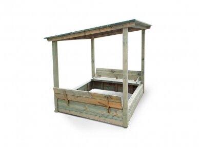 Uždaroma smėlio dėžė su vienšlaičiu stogu 4