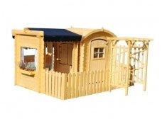 Vaikiškas medinis namelis su žaidimų aikštele