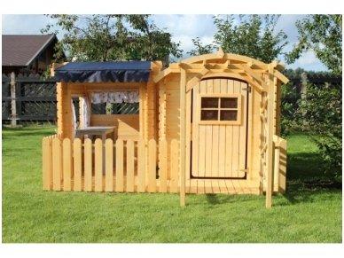 Vaikiškas medinis namelis su žaidimų aikštele 2