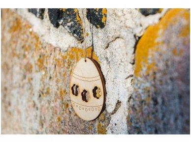Wooden Easter egg ornament 6