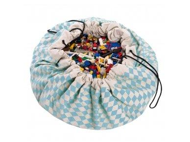 """Žaidimų kilimėlis-krepšys """"Mėlynas rombas"""""""